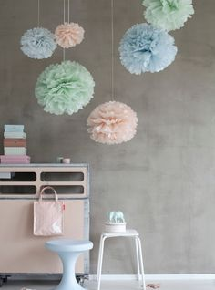 Set of 3 Pastel Perfect Tissue Paper Pom Poms - Wedding in a Teacup