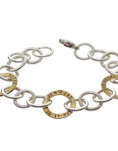 Heather Moore bracelet: Silver and Gold Open Link, Silver with Gold Open Circles, Initials, Names & Date