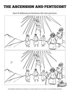 The Ascension and Pentecost Kids Spot The Difference: Think these two Ascension illustrations look the same? Well you're going to want to take a second look! Designed with gorgeous artwork, this Acts 2 Sunday school activity is perfect for your upcoming kids lesson on the Ascension and Pentecost.