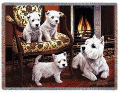 """West Highland Terrier """"Westie"""" Dogs Afghan Throw Blanket"""
