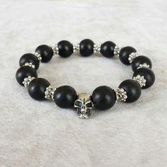 Sterling Silver Mens Skull bracelet, Gift for Him, Men's wood beaded bracelet, Gifts for Dad, jewelry for men, bracelet for him by ELSLondon on Etsy https://www.etsy.com/listing/233989028/sterling-silver-mens-skull-bracelet-gift