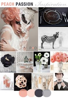 Peach Passion, Mood Board, Wedding Inspiration, Peach, Black, Grey, Wedding, Cake, Flowers, Tassles, Lace