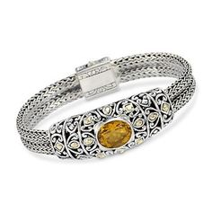 Balinese 4.50 Carat Citrine Bracelet In Sterling Silver and 18kt Yellow Gold