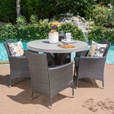 Sanibel 5pc Wicker Dining Set - Gray - Christopher Knight Home