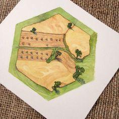 Catan-Brettspiel-Kunst Korn Hex Konzept Kunstwerk - Einmaliges Geschenk für Catan-fan