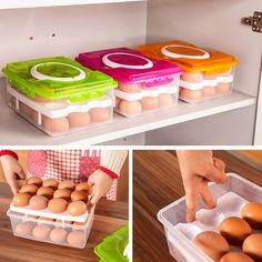 24 Grid Egg Storage Trays  Food Container Organizer Convenient  Double Layer Durable Multifunctional Crisper Kitchen Products