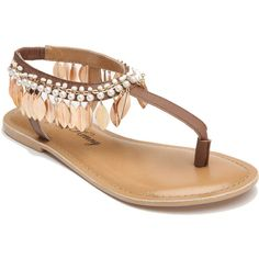 Penny Loves Kenny Saffron Women's Tan Sandal 10 M (94 CAD) ❤ liked on Polyvore featuring shoes, sandals, tan, t strap thong sandals, summer sandals, tan shoes, tassel sandals and toe post sandals