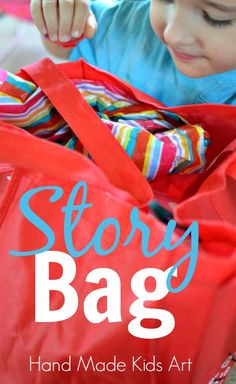 Story Bag: Simple kids activity to increase creative thinking and storytelling skills. My kids love this easy to make activity!