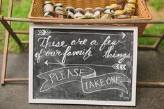 Cat & Colby - chalkboard for wedding favors