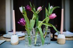 Simple tulip centerpiece for date night! | Tara Mc Photography