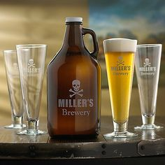Personalized Skull & Crossbones Growler & Pilsner Glasses at Wine Enthusiast - $79.90