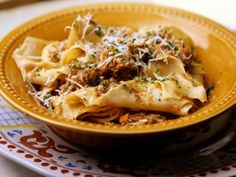 Duck Ragu with homemade pappardelle pasta. From Extra Virgin on Cooking Chanel.