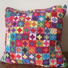 Mini Granny square crochet cushion