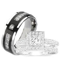 3 Pieces Mens Womens, His & Hers, 925 Sterling Silver & Titanium Engagement Wedding Ring Set (Size Mens 10 Womens 5): Jewelry