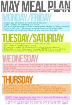 Meal plan plus workout