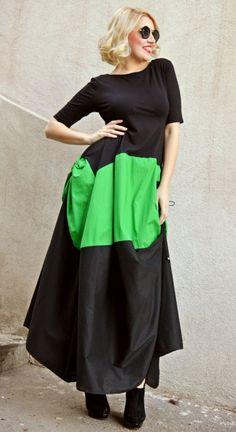 Extravagant Maxi Dress / Black and Green Plus Size Dress / Asymmetrical Long Dress TDK162 / Funky Maxi Dress / SPRING 2016