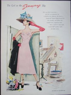The girl in the Seamprufe Slip....cute pink slip on woman trying on huge hat in dressing room #vintage #lingerie #ad