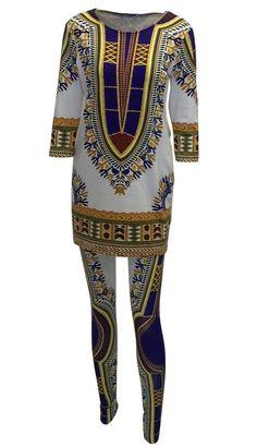 African Print Dashiki Tunic Top and Skinny Pants Set