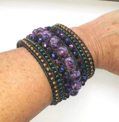 Chic purple beaded cuff bracelet by Beadsagogo on Etsy, $70.00