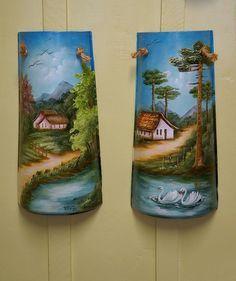Painted Books, Hand Painted, Palm Frond Art, Bijoux Fil Aluminium, Summer Painting, Bottle Painting, Tile Art, Wall Sculptures, Clay Art