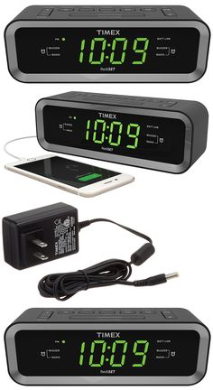 Digital Clocks and Clock Radios: Timex T236bqx Dual Alarm Clock Radio Fm With Usb Charge Port Green Led Display -> BUY IT NOW ONLY: $33.99 on eBay!
