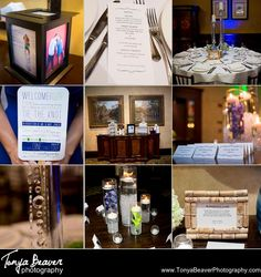 Reception details - engagement photos, place settings, menus, table numbers with wine corks, and candles....check it all out!   TPC Wedding Photos - Ponte Vedra Wedding Photos -  Tonya Beaver Photography 036