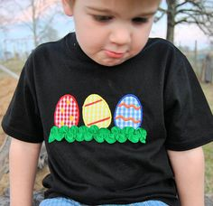 Boy's Easter applique shirt Egg trio with by SimplieGirlieDesigns