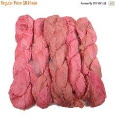 SALE 50g Recycled Sari Silk Ribbon, Rouge