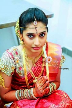 South Indian Bride in Red Silk Saree and Heavy Stone Work Blouse