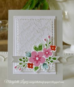 Mother's Day Card with Stamped Blessing Background and Paper Blooms from Papertrey Ink by Marybeth