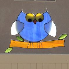 Stained Glass Dopey Owl On Branch Suncatcher by FoxStainedGlass on Etsy