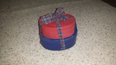 Bought 2 old hat boxes. ... painted n added gingham!