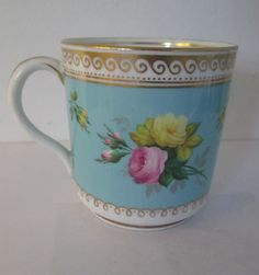 Antique Hand Painted Porcelain Coffee Can & teacup hand painted roses Perfect