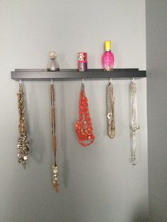 SheriChelle: Ikea Ribba picture ledges are awesome! They have so many uses for every room in your house.... Ikea RIBBA picture ledge hack! Now a beautiful necklace holder
