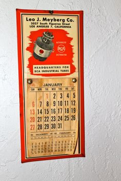 Vintage 1952 Los Angeles calendar from famous RCA radio and record player distributor Leo J. Meyberg. $22.00, via Etsy.
