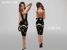 The Sims Resource: Greta pencil dress by RHOWX`s • Sims 4 Downloads
