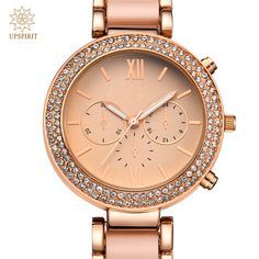 Women Business Wristwatches Fashion Alloy Rose Gold Quartz Watch Real Gold Waterproof Watch Wristwatch With Luxury Crystal Case-in Women's Watches from Watches on Aliexpress.com | Alibaba Group