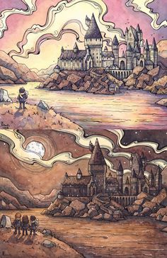 Hogwarts studies by Corinne Roberts Watercolor and pen Arte Do Harry Potter, Harry Potter Painting, Harry Potter Artwork, Harry Potter Drawings, Harry Potter Images, Harry Potter Anime, Harry Potter Wallpaper, Harry Potter Universal, Harry Potter Fandom