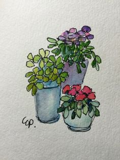 Potted Blooms Watercolor Card / Hand Painted Watercolor Card It is the time to plant our planters. I love the planters I am seeing in bloom right