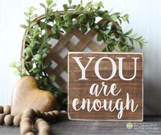You Are Enough Mini Block Wood Sign - Home Decor - Tiered Tray - Coffee Bar - Wood Sign - Wooden Signs - Sayings Quotes Small MiniBlock by thestickerhut on Etsy Wooden Signs With Sayings, Vinyl Sayings, Sign Sayings, Funny Bathroom Decor, Bathroom Ideas, Wood Signs Home Decor, Coffee Bar Signs, Christmas Signs Wood, Christmas Decorations
