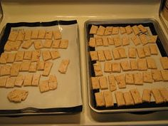 Recipe for DIY Dog Treats  Ingredients:  2 Tablespoons olive Oil  1/2 Cup Peanut Butter  1 Cup Water  3 Cups Flour    Mix all ingredients together to form a dough.   Roll out the dough and cut into long strips, then into the size of treat you want. Place the treats close to each other on a baking sheet.  Bake at 350 degrees for 20 minutes.