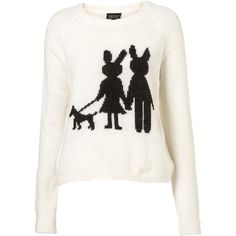 Knitted Rabbit Motif Jumper ($92) ❤ liked on Polyvore featuring tops, sweaters, jumper, shirts, topshop, women, white sweater, rabbit fur sweater, jumper shirt and jumper top