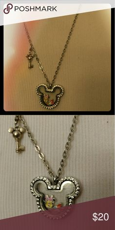 Mickey Mouse locket Necklace Includes Mickey key and Minnie and Daisy Charm Silver Jewelry Necklaces