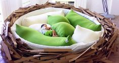 Bird nest bed looks unique and appropriate to put in the child's bedroom or living room. The mattress was filled pillow that feels soft and comfortable. We guaranteed your child will be easy to sleep or playing in there. Dreams Beds, Cool Beds, Awesome Bedrooms, My New Room, My Dream Home, Bean Bag Chair, Sweet Home, House Design, Nest Design