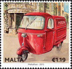"europa stamps: Malta 2013 -  Europa 2013 ""The postman van""  celebrating PostEuropa's 20th anniversary - 1993-2013"