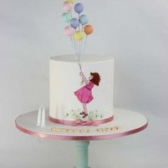 Brilliant Image of Fondant Cake For Girl Birthday . Fondant Cake For Girl Birthday Balloon Cake Hand Painted Girl Cakes Cool Birthday Cakes, Birthday Cake Girls, Birthday Month, Pretty Cakes, Cute Cakes, Fondant Cakes, Cupcake Cakes, Fondant Girl, Cake Cookies