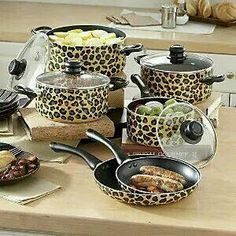 Ginnys Brand Animal Print Nonstick Aluminum Cookware Set From Ginny S