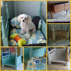 My Dog's Bed made from a turned over nightstand. Cost: Nightstand $5 yard sale, fabric $3.00 x yd. on sale, paint $2 Home Depot (returned items area), little round legs $2.50 (x4) Home Depot (wood/fences area, furniture's legs are more expensive). You will also need sand paper and Prime Base paint if you decide color instead of varnish. I used her pillow to make the cushions. I love it..