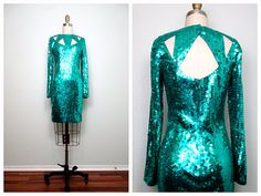 VTG Bright Turquoise Sequined Dress / Sequin Trophy by braxae