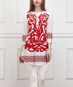 Another great find on #zulily! Red Scroll Notch Neck Tunic - Women #zulilyfinds